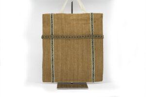 Sac Tote bag en toile de jute chevron fourre-tout fait main en série limitée