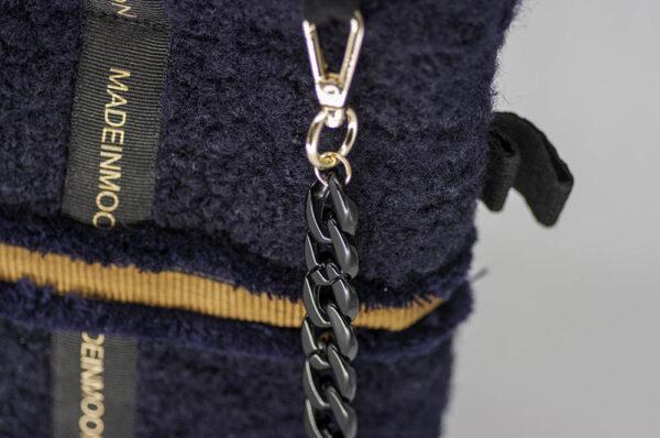 Cabas Moyen En Bouclette Bleu Marine Modèle Albertine