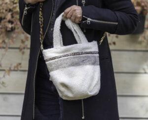 Mini Bag En Bouclette Blanc Cassé Modèle Oscar