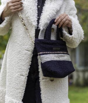 Mini Bag En Bouclette Bleu Marine Modèle Amandine